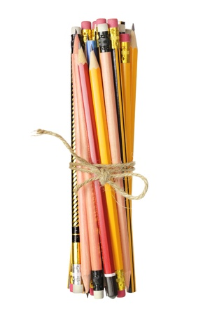 Bundle of Pencils on White Background photo