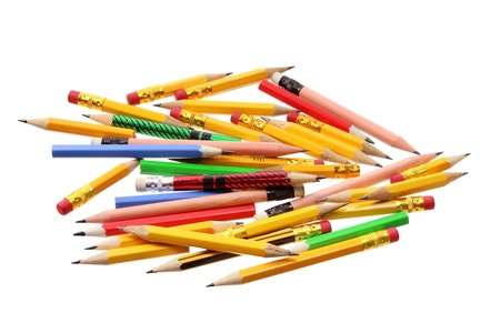 writing implements: Pile of Pencils on White Background