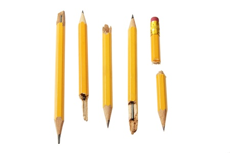 writing implements: Broken Pencils on White Background Stock Photo