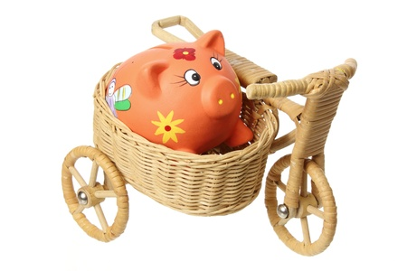 sidecar: Piggybank on Miniature Sidecar with White Background Stock Photo