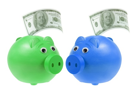 Piggybanks with Banknotes on White Background photo