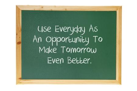 Blackboard with Inspiration on White Background Stock Photo