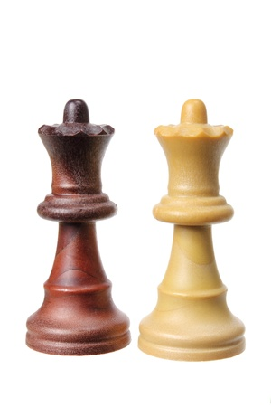 Queen Chess Pieces on White Background