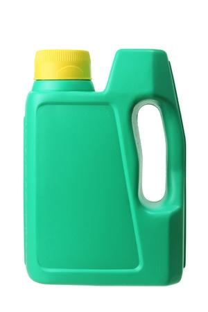 engine oil: Plastic Oil Bottle on White Background