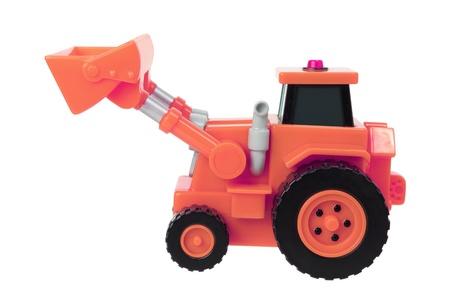 earthmover: Toy Earthmover on White Background Stock Photo