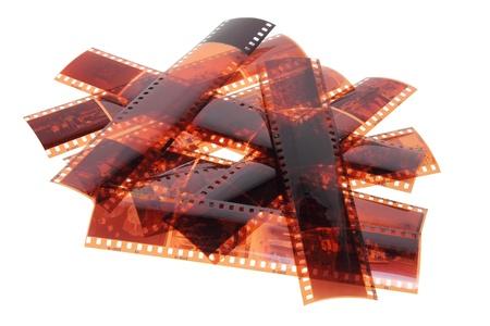 studio photography shot: Film Strips on White Background Stock Photo
