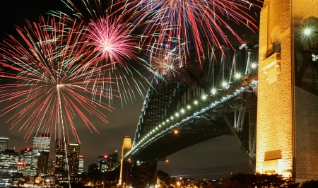 Sydney Harbor Bridge with Fireworks