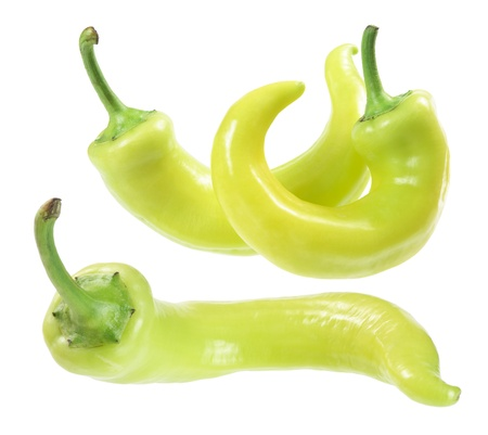 Yellow Banana Peppers on White Background Stock Photo