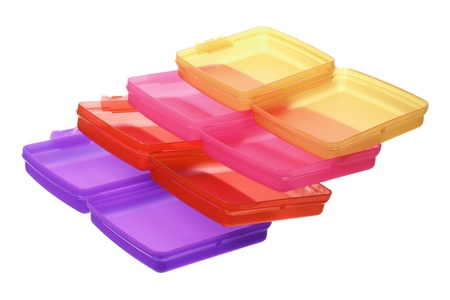 tupperware: Stack of Plastic Containers on White Background