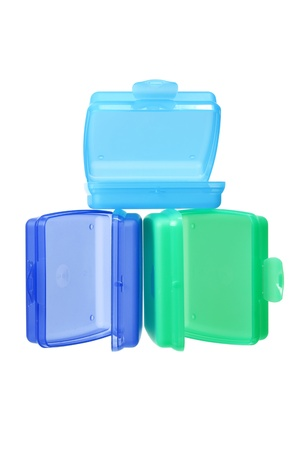 tupperware: Plastic Containers on White Background Stock Photo