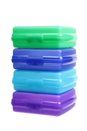 airtight: Stack of Plastic Containers on White Background