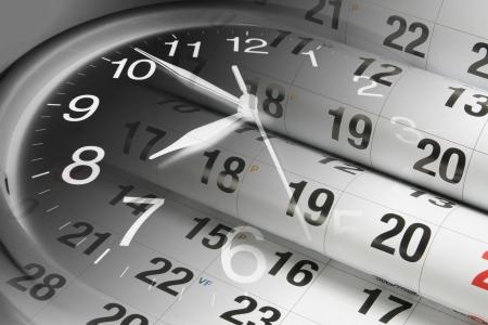 puntualidad: Compuesto de p�ginas de calendario y reloj