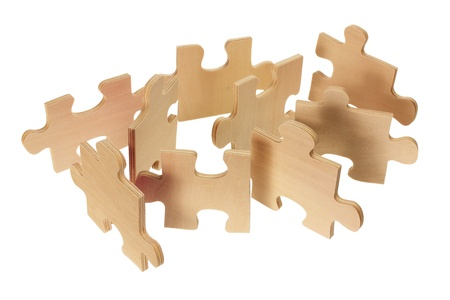 Jigsaw Puzzle Pieces on White Background Stock Photo - 14053503