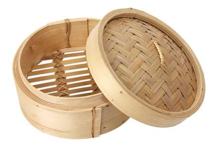 Bamboo Steamer on White Background