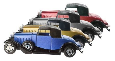 motorcars: Antique Model Cars on White Background Stock Photo