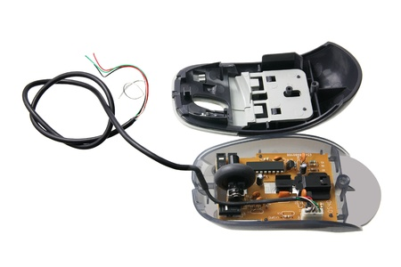 Broken Computer Mouse on White Background Stock Photo - 14107569