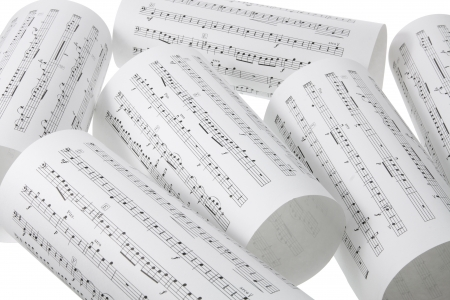 theories: Close Up of Music Score Stock Photo