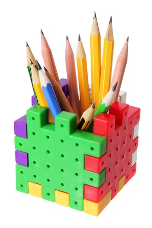 writing implements: Pencil Box on White Background
