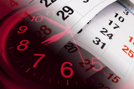 Composite of Clock and Calendar Pages Stock Photo