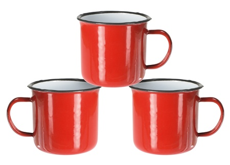 Tin Cups on White Background photo