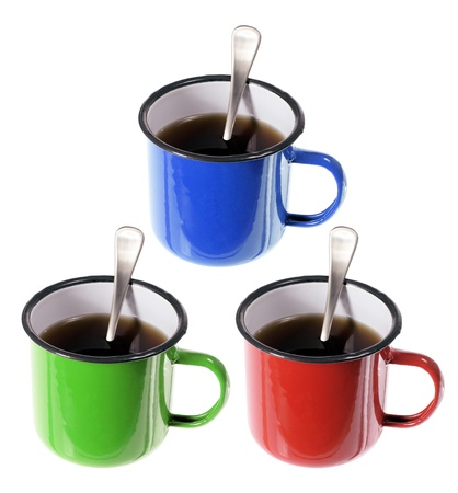 Cups of Coffee on White Background Stock Photo - 14317372