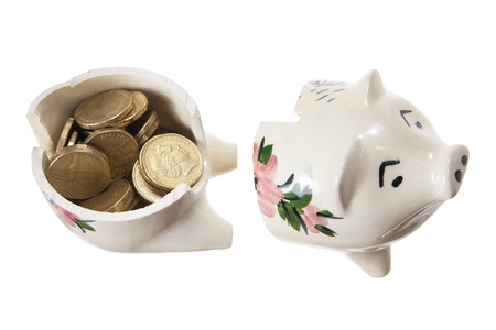 Broken Piggy Bank on White Background Stock Photo - 14317338