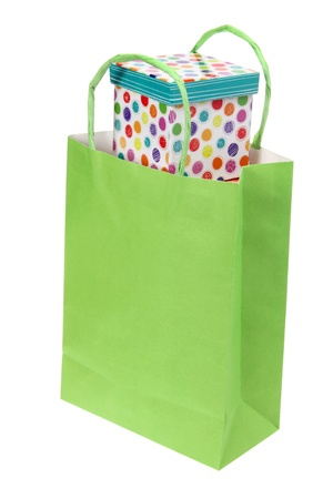 Shopping Bag and Gift Box on White Background on White Background photo