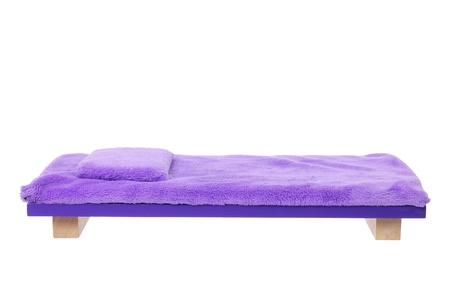 Miniature Wooden Bed on White Background Stock Photo - 14598829