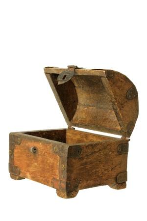 Old Treasure Box on White Background photo