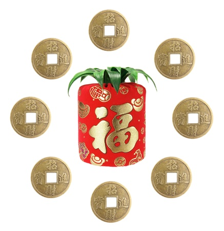 Chinese New Year Decorations on White Background Stock Photo - 14603033