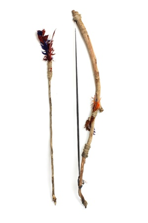 arrow wood: Bow and Arrow on White Background