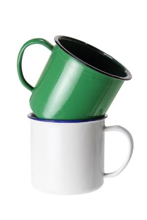 Tin Cups on White Background Stock Photo - 14641694