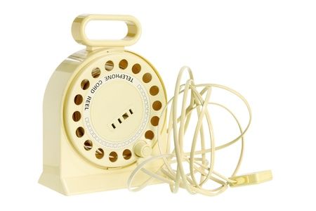 life extension: Telephone Cord Reel on White Background