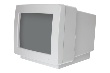 cathode ray tube: Old Computer Monitor on White Background Stock Photo
