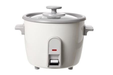 Electric Rice Cooker on White Background photo