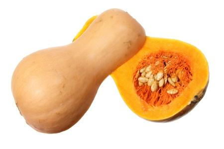 butternut: Slices of Butternut Pumpkin on White Background Stock Photo