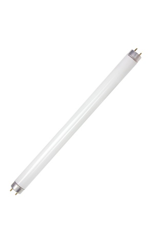 Fluorescent Tube on White Background Stock Photo
