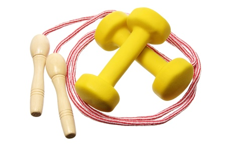 dumb bells: Dumb Bells and Skipping Rope on White Background