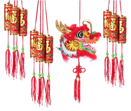 Chinese New Year Decorations on White Background photo