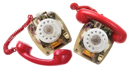 Old Dial Phones on White Background photo