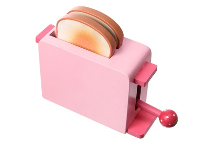 Toy Wooden Toaster on White Background Stock Photo - 14794008