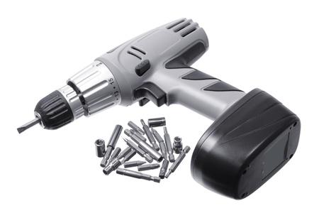 herramientas de carpinteria: Taladro eléctrico sobre fondo blanco Foto de archivo