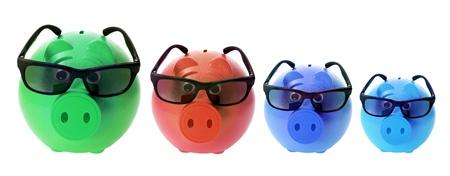 piggybanks: Piggybanks with Sunglasses on White Background Stock Photo