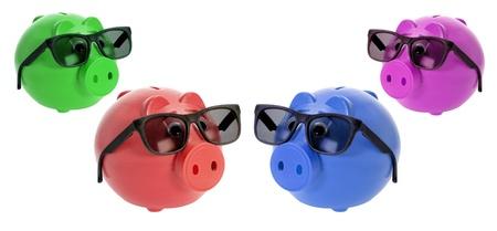 sunnies: Piggybanks with Sunglasses on White Background Stock Photo