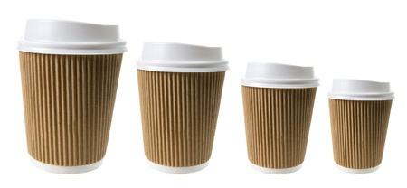cardboard cutout: Tazze di caff� su sfondo bianco