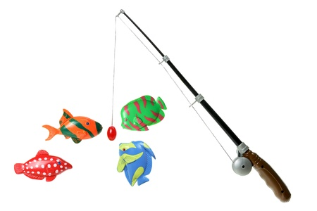Toy Fishing Rod on White Background photo