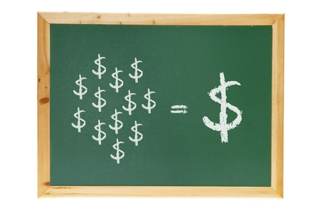 dollar signs: Blackboard with Dollar Signs on White Background