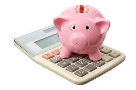 piggybank: Piggybank and Calculator on White Background
