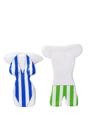swimming costume: Figures with Swimming Costume on White Background Stock Photo