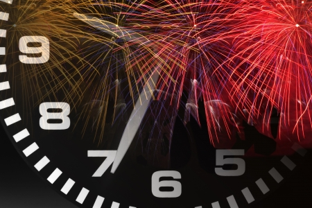 Composite of Clock and Fireworks Stock Photo - 15409196